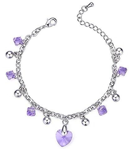 "Swarovski Elements Violet ""Felicità"" Charme Bracelet"