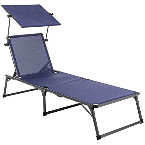 Ultranatura Chaise longue Nizza en aluminium avec pare-soleil - 193 x 67 x 32 cm, Bleu