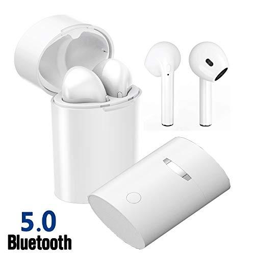 Auriculares Cascos Inalámbricos 5.0 Bluetooth, PETHREE X10-TWS Stereo Manos Libres Deportivo Bluetooth Auriculares con Microfono CVC 6.0, Sin Cable Earphones -Blanco