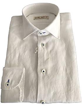 ICON LAB 1961 camicia uomo manica lunga bianca 100% lino regular slim asola colorata