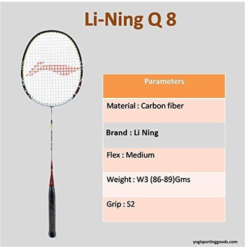Li-Ning Q8Basic F Serie Badminton Schläger Weiß/Gelb mit Griff (2Stück) (Weiß Yonex Griff)