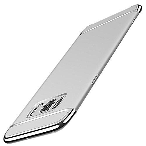 Wouier Funda Samsung Galaxy S8 Plus Luxury 3 en 1 Funda Protectora de galvanoplastia Cubierta Superior PC Hard Skin Funda de Cuerpo Entero para Galaxy S8 (Galaxy S8 Plus, Plata)