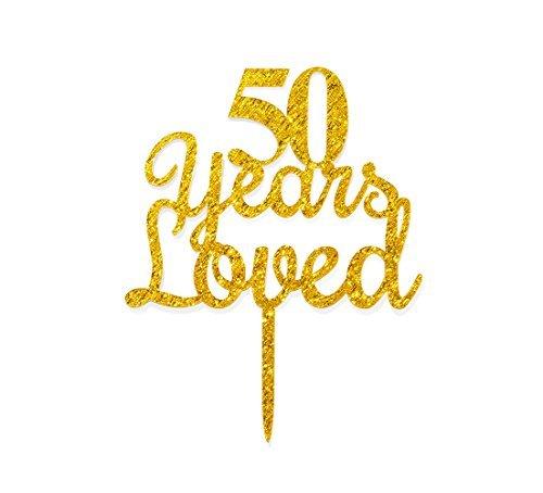(qttier 50Jahren Loved Kuchendekoration Happy 50th Birthday Anniversary Party Dekoration Premium Qualität Acryl Gold)