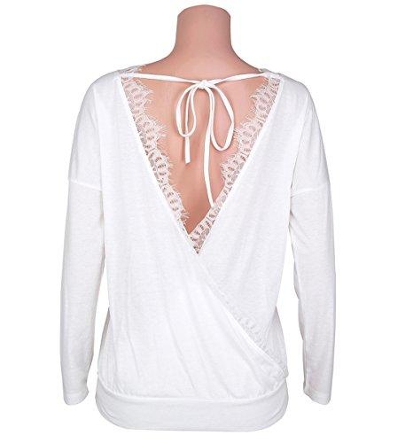 Donna Senza Schienale Pullover T-shirt Casual Top Sweatshirt Moda Bluse e Camicie Maglie a Manica Lunga Girocollo Shirts Bianco