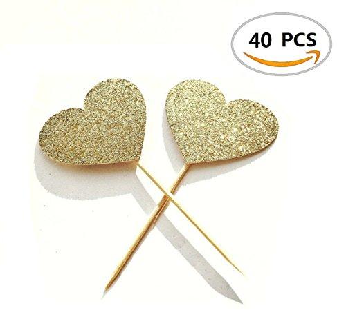 40PCS Bloomood Herz-Kuchen-Deckel-Auswahl, Gold-Funkeln-Herz-große Kuchen-Deckel Golden, Hochzeiten, Brautparty, Dekoration-Geburtstagsfeier-Dekor. (Herz-hochzeits-kuchen-deckel)