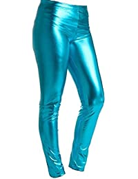 5f8b8436fdae0 Bless Girls Metallic Leggings Wet Look FOIL American 4-13 Years Shiny Kids  Childrens Halloween Party Disco Dance…