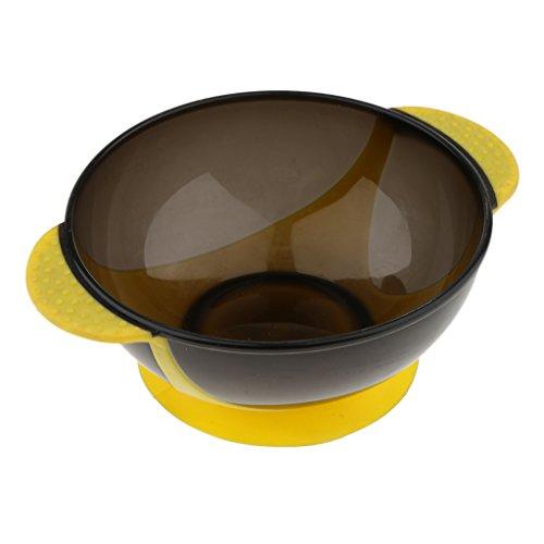 Homyl Bol avec Poignée en Plastique pour Coloration Teinture à Cheveux - Outil Salon de Coiffure - Diamètre 12,6 cm - Jaune