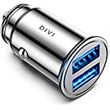DIVI Car Charger 12V/ 24V Car Adaptor with Mini Size Dual Port(5V/4.8A/24W), Fast Charging for iPhone XR/Xs Max / 8 Plus, iPad Air, Galaxy S8/S7/Edge, Note 5/4, Huawei (Silver)
