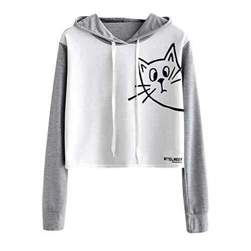 JUTOO Womens Casual Langarm-Sweatshirt mit Kapuze Pullover Tops Bluse(Grau,EU:44/CN:XL)