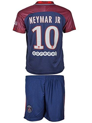 PSG Paris Saint-Germain 2017/18 Heim und Auswärts # 10 Neymar - Kinder Trikot und Hose (152, Heim)