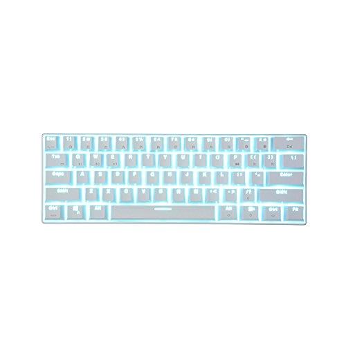 PMFSWired/Wireless Bluetooth 3.0 Multi-Device-LED Mechanische Gaming-Tastatur mit Hintergrundbeleuchtung Dual Connectivity Blauer SchalterWeiß mitEisblau