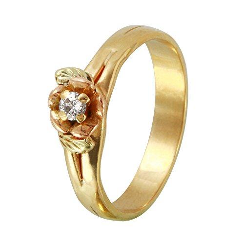 0,1Karat natürlicher Diamant 14ct drei Ton Solitaire Engagement Ring für Frauen Solitaire Engagement Ring 14k