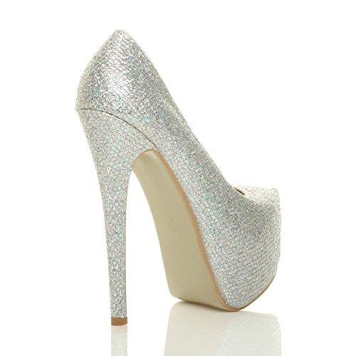Chaussures Décolleté Pour Femmes Avec Plateforme Cachée Et Talon Haut Pour Numéro De Fête Argent Avec Paillettes Multicolores
