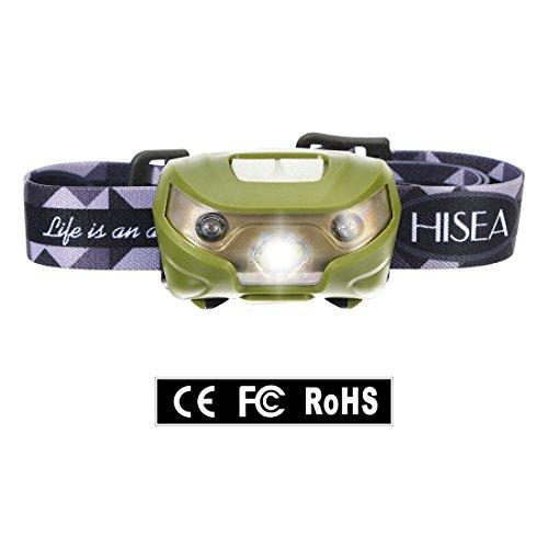 Hisea USB Wiederaufladbare LED Stirnlampe Kopflampe, Sehr hell, wasserdicht, leicht und bequem, Perfekt fürs Joggen, Gehen, Campen, Lesen, Laufen, für Kinder und mehr, ohne Bewegungsmelder