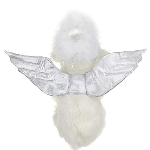 FLAdorepet Hundekostüm, Engelsflügel, mit Halo und Flügeln, für kleine und mittelgroße Hunde und Katzen (Halo-halloween-kostüm)