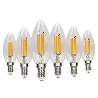 E14 LED Candle Bulbs 4W, 6 Pack Small Edison Screw Light Bulbs,LED Filament Lights, Chandelier Lamp Bulbs,40W Equivalent,Energy Saving