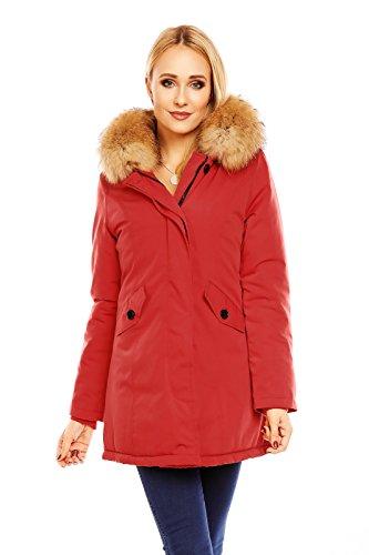 Mayaadi Damen Winter Parka Jacke Mantel 100% Echtes XXL Fell Pelz Kapuze HS-6015 Rot XL (Echte Pelz-mäntel Für Frauen)