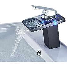 Auralum® Mitigeur Lavabo Noir Lumineux LED RVB 3 Couleurs Pour Vasque De  Salle De Bain