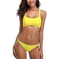 CharmLeaks Damen Sport Bikini Zweiteiler Bandeau Badeanzug Verstellbare  Träger Kontrast Mit Slips 9c6f2d0b6e