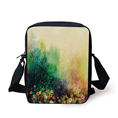 Watercolor Flower Home Decor,Flower Bed on Valley in Fall with Shady Faded Murky Print,Green Mustard Print Kids Crossbody Messenger Bag Purse (Coach Tablet-fall)