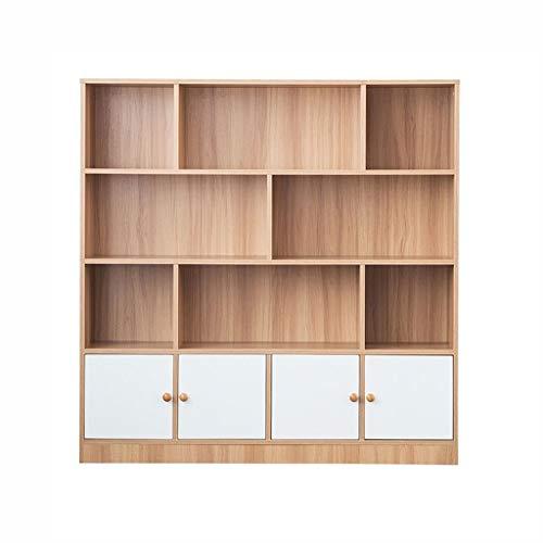YST Bücherregal HX Bücherregal Mit Tür Bücherregal Bücherregal Einfache Freie Kombination Lagerung Lagerung Kiefer Schrank Eiche Mehrschichtiges einfaches Lagerregal (Color : Oak) - Oak Media Storage