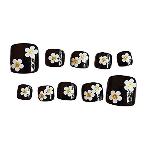 Blütenschwarz Kurz Künstliche Falsche Nägel Tipps Falsche Zehennagel Nagel Dekoration