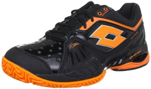 lotto-sport-raptor-ultra-iv-clay-tennis-shoes-mens-black-schwarz-blk-hallorange-size-485