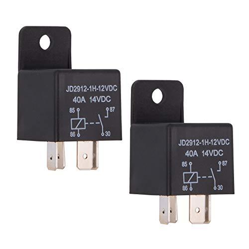 Ehdis® auto Relè 4 Pin 12v 40amp SPST Modello no .: JD2912-1H-12VDC 40A 14VDC, Auto Interruttori e antipasti, 2 pack