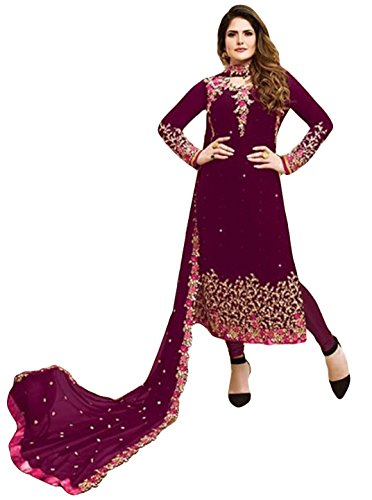 Justkartit Stylish New Maroon Color Georgette Salwar Kameez Suits With Heavy Floral...