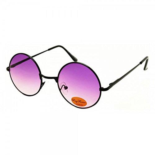 Rund Hippie Brille John Lennon getönt 400UV langer Steg dunkel (Dunkle Schwarze Sonnenbrille)