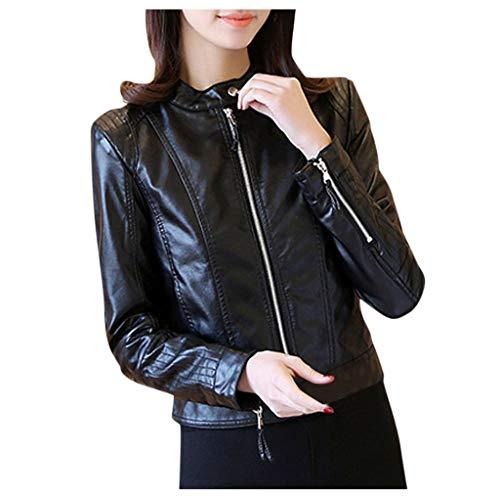 ➤Refill➤ Damen Jacke | Kunstleder Jacke |Jacke mit Stehkragen | Damen Bikerjacke Pilotenjacke Lederjacke mit Fell Top Coat mit Reißverschluss Mäntel