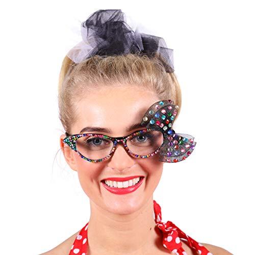 Jannes 2850 Elegante Damen-Brille Edna mit Strass Bunt Regenbogen Glitzer mit Steinen Rockabilly Rock'n'Roll Rock'n Roll 50er Jahre 50s Vintage Retro Pinup Einheitsgröße - Dame Edna Kostüm