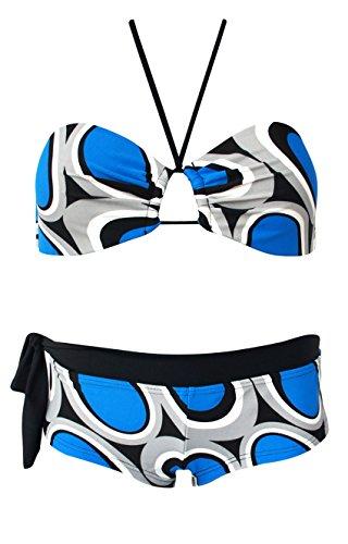 RAE Damen Push-Up Bikini Bandeau Neckholder Ringe Kringel Retro Panty Blau