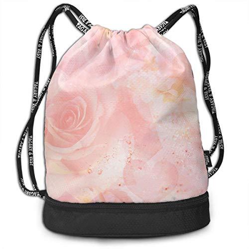 ziHeadwear Pastel Roses In Blush Cream Print Drawstring Bags - Simple Bundle Pocket Backpack