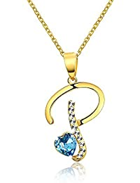 Yellow Chimes Crystals from Swarovski 22K Gold Plated P Alphabet Heart Crystal Pendant for Women and Girls