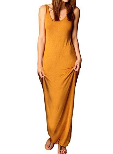 ACHICGIRL Women's Sleeveless Solid Slim Fit Maxi Tank Dress Orange