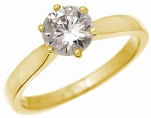 Trendy 18 ct Gold Ladies Solitaire Engagement Diamond Ring Brilliant Cut 1.50 Carat JK-I2 Size J