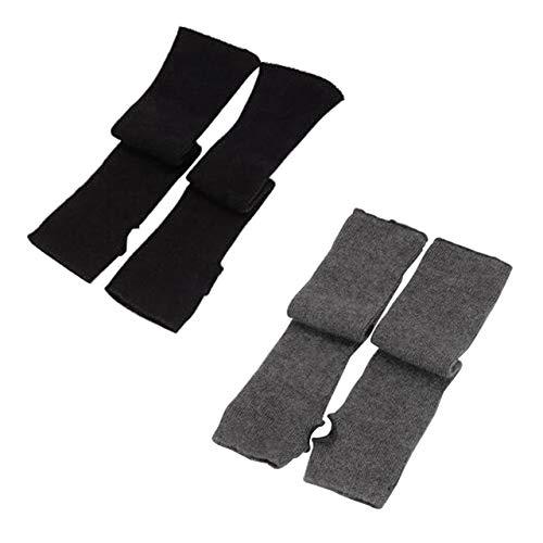 (CHIC DIARY Fingerlose Armstulpen Damen Langarm Fäustlinge Lang Handschuhe Warm Stulpen für Winter Herbst (4 Farben bei Auswahl), Schwarz+grau, Einheitsgröße)