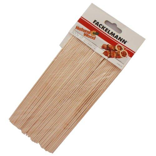 FACKELMANN 31080Fair Stachelreihe für Bratspieße Grill Holz beige 20cm 100Stück
