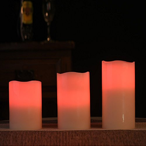 Velas LED con mando a distancia, cambio de colores y temporizador: 3 velas de cera real, grandes y blancas con llamas parpadeantes