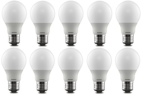 Wipro Garnet Base E27 9-Watt LED Bulb (Pack of 10, Warm White)