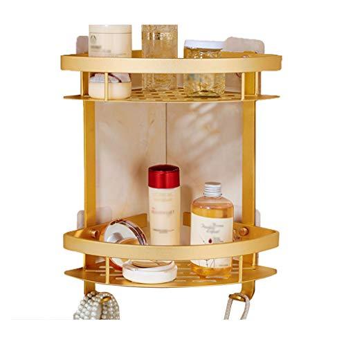 YU-Shelf Badezimmer Duschregal Eckregal, 2 Ebenen Eckablage aus Aluminium, Duschkorb für Shampoo - ohne Bohren,Gold (Dusche Eck-regal Aus Marmor)