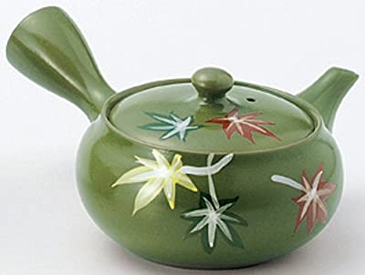 Kyusu en Céramique Verte (Théière Japonaise) Feuilles Colorées avec Passoire 260cc par Yamakiikai FM914 (RyokuDei)