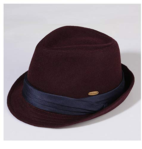 VAXT Direkte Hut-männliche Winterwolle warme schwarze Fedora-Hut-Damen-Wintermode-Flut-koreanische Version der einmütigen Farbstoff-Filz-Hut-Jazz-Hut (Farbe : Dark red, Größe : ()