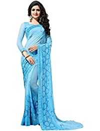 Fab Valley Women Georgette Embroidery Saree With Blouse Piece (Blue)