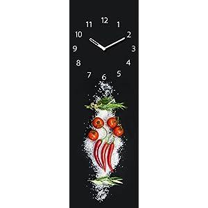 Wanduhr Aus Glas Für Die Küche, Cucina Italiana Pomodori, Tomaten,  Peperoni, Kräuter
