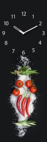 Wanduhr aus Glas für die Küche, Cucina Italiana Pomodori, Tomaten, Peperoni, Kräuter, Salz, schwarz, 20x60 cm von Eurographics