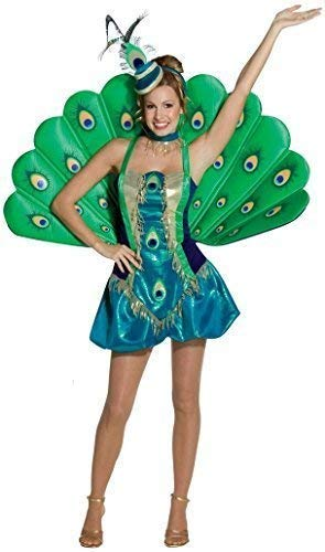 Damen Deluxe Pfau Tier Vogel Natur Henne Do Abend Party Karneval Festival Kostüm Kleid Outfit