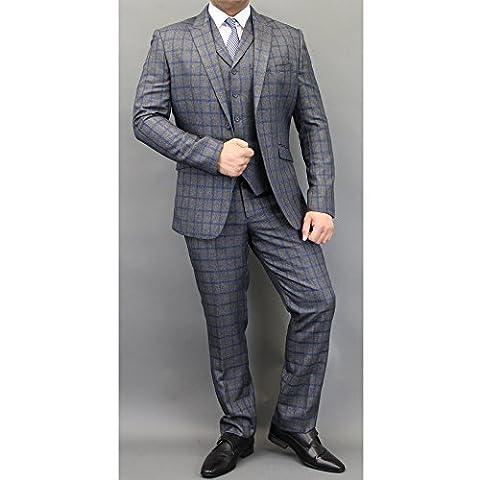 Hommes Mélange Laine Tweed À Carreaux Blazers Gilets Pantalon 3 Pièces Pour By Cavani - Bleu/Charbon - FALENA, Chest 48