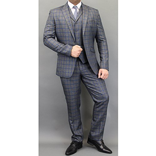 uomo-misto-lana-tweed-a-quadretti-blazers-gilet-pantaloni-3-pezzi-abiti-by-cavani-blu-carbone-falena